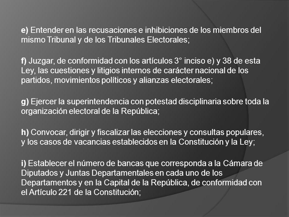 e) Entender en las recusaciones e inhibiciones de los miembros del mismo Tribunal y de los Tribunales Electorales;