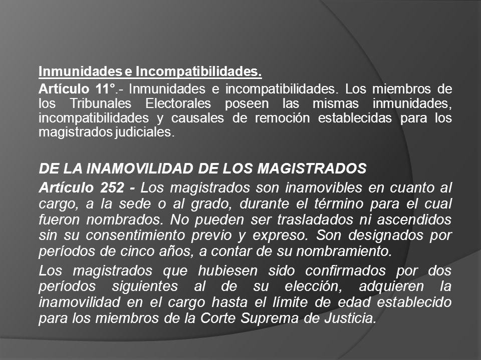 DE LA INAMOVILIDAD DE LOS MAGISTRADOS