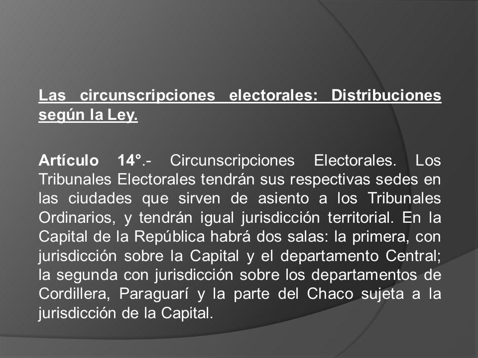 Las circunscripciones electorales: Distribuciones según la Ley.