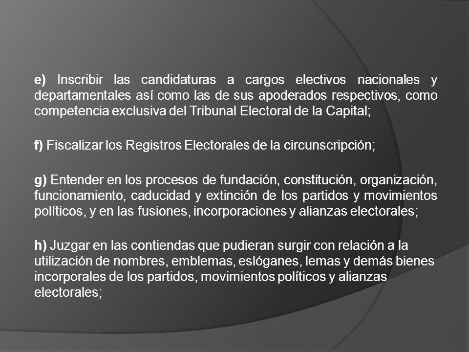 e) Inscribir las candidaturas a cargos electivos nacionales y departamentales así como las de sus apoderados respectivos, como competencia exclusiva del Tribunal Electoral de la Capital;