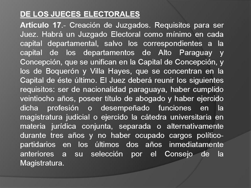 DE LOS JUECES ELECTORALES