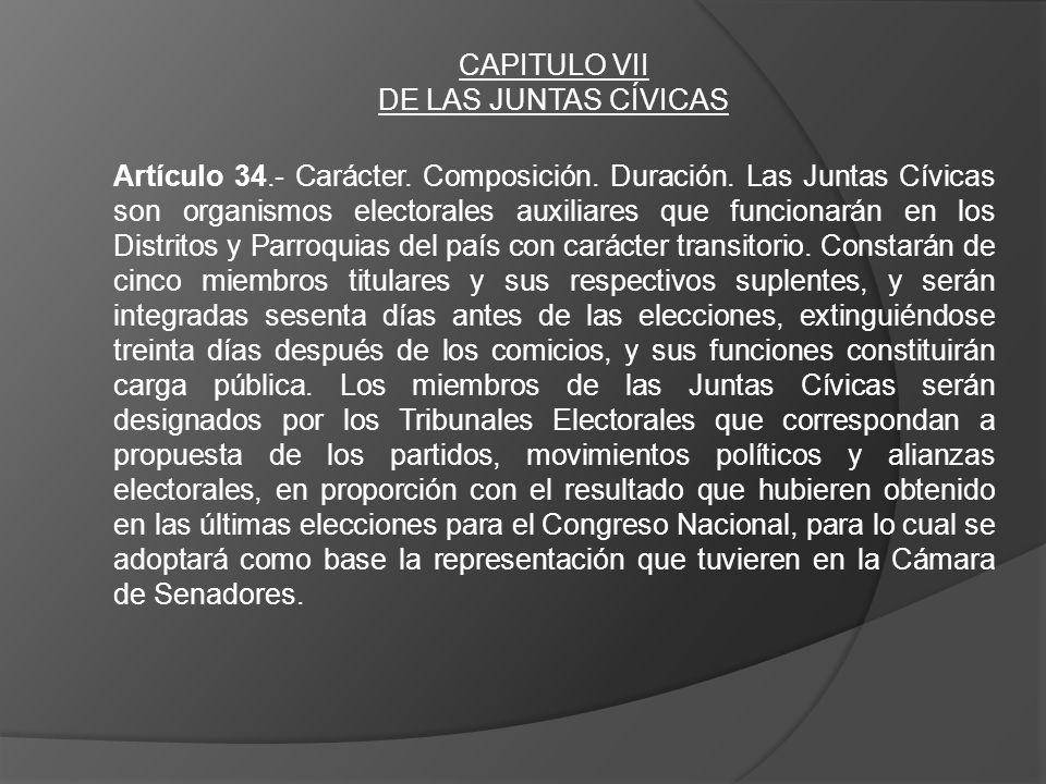 CAPITULO VII DE LAS JUNTAS CÍVICAS