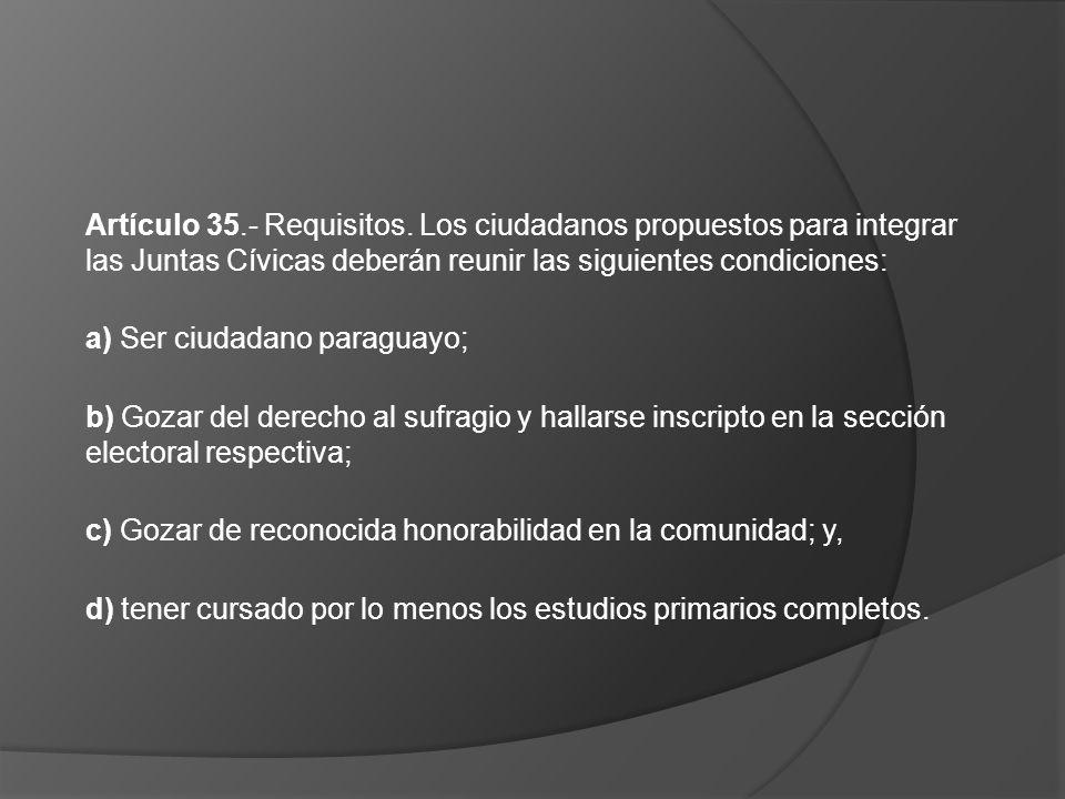 Artículo 35.- Requisitos. Los ciudadanos propuestos para integrar las Juntas Cívicas deberán reunir las siguientes condiciones: