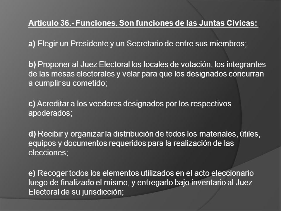 Artículo 36.- Funciones. Son funciones de las Juntas Cívicas: