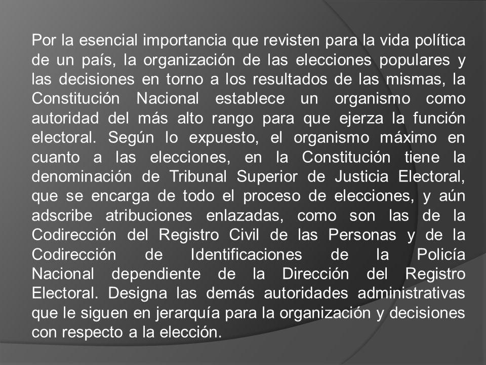 Por la esencial importancia que revisten para la vida política de un país, la organización de las elecciones populares y las decisiones en torno a los resultados de las mismas, la Constitución Nacional establece un organismo como autoridad del más alto rango para que ejerza la función electoral.