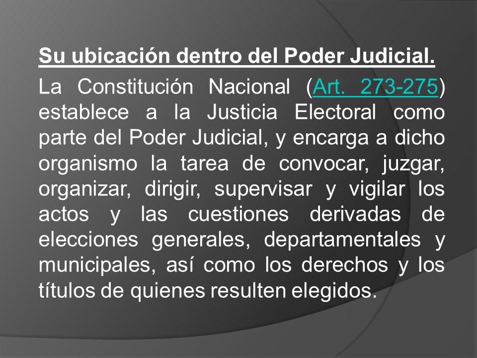 Su ubicación dentro del Poder Judicial.