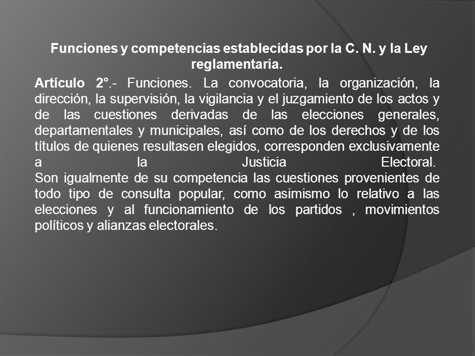 Funciones y competencias establecidas por la C. N