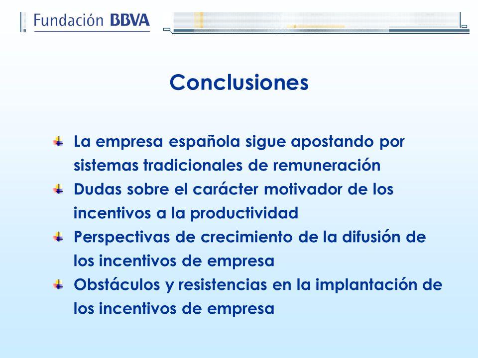 Conclusiones La empresa española sigue apostando por sistemas tradicionales de remuneración.