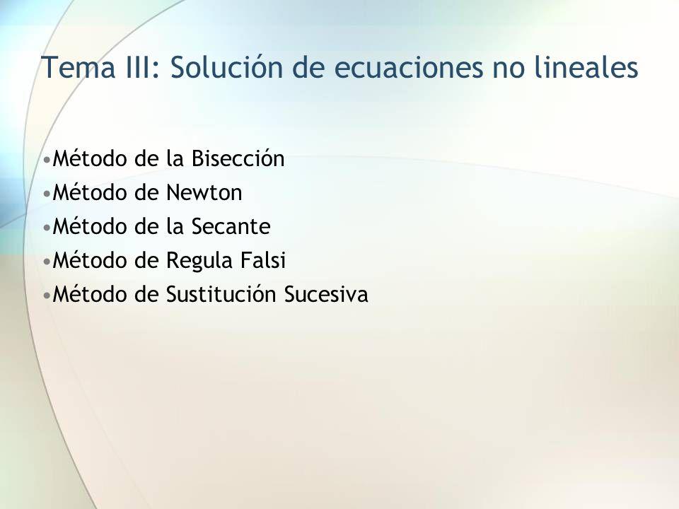 Tema III: Solución de ecuaciones no lineales