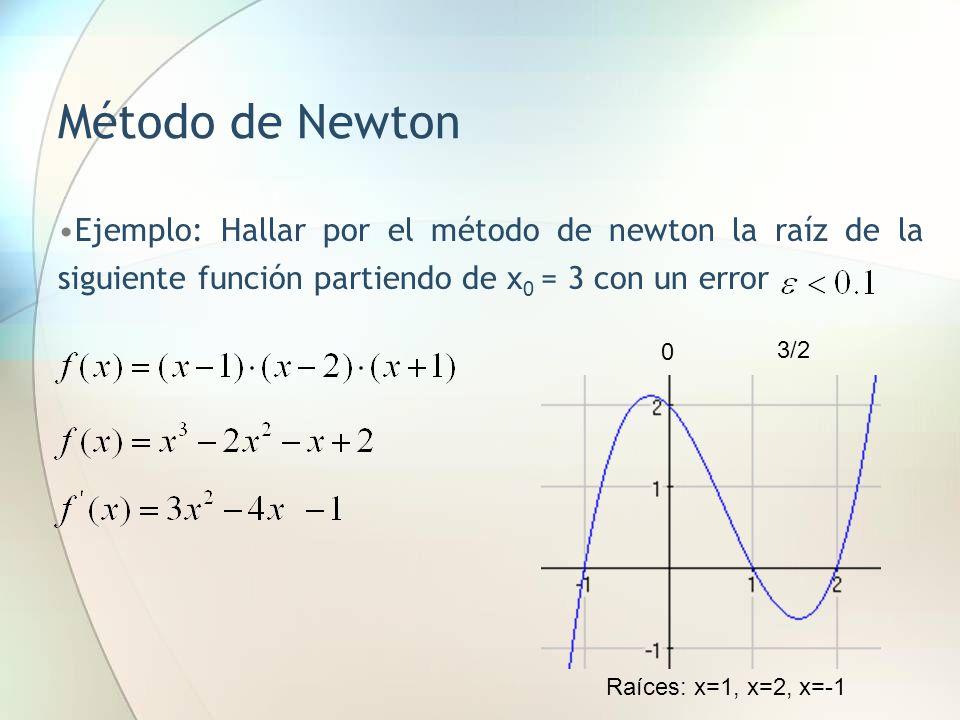 Método de Newton Ejemplo: Hallar por el método de newton la raíz de la siguiente función partiendo de x0 = 3 con un error.