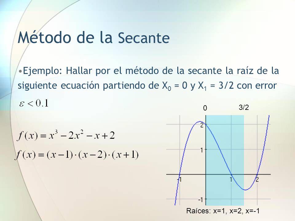 Método de la Secante Ejemplo: Hallar por el método de la secante la raíz de la siguiente ecuación partiendo de X0 = 0 y X1 = 3/2 con error.