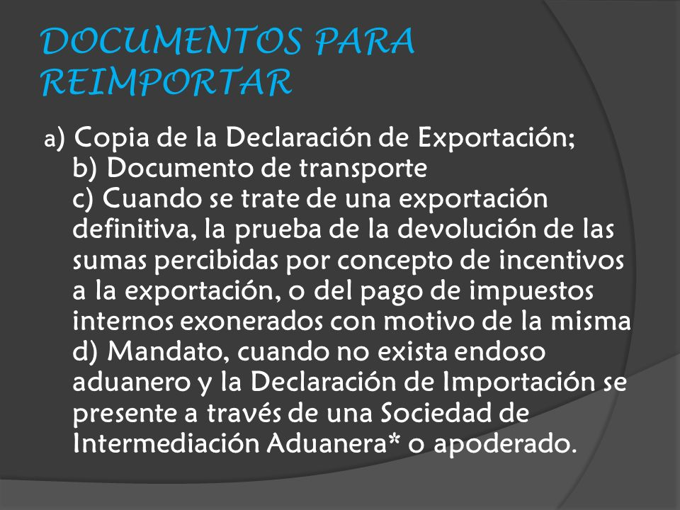 DOCUMENTOS PARA REIMPORTAR