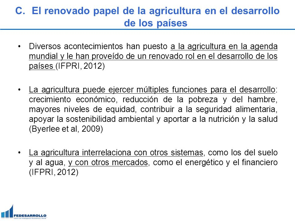 El renovado papel de la agricultura en el desarrollo de los países