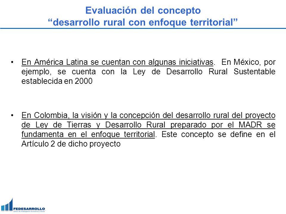 Evaluación del concepto desarrollo rural con enfoque territorial