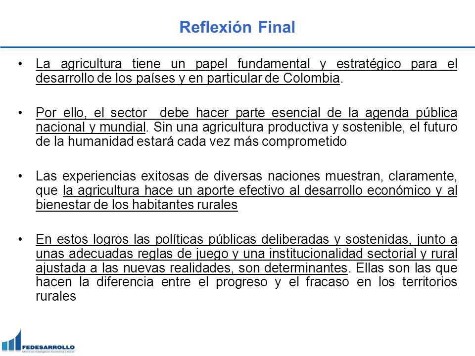 Reflexión Final La agricultura tiene un papel fundamental y estratégico para el desarrollo de los países y en particular de Colombia.