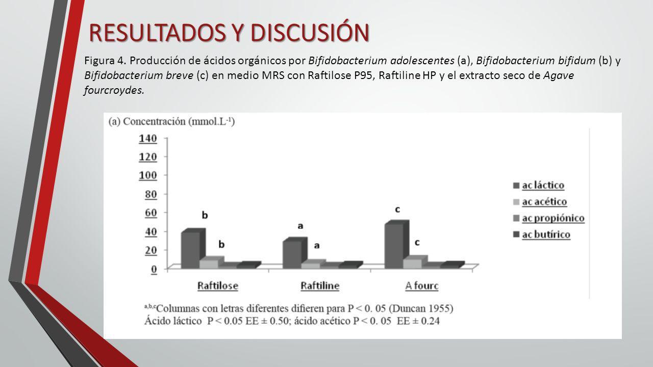 Figura 4. Producción de ácidos orgánicos por Bifidobacterium adolescentes (a), Bifidobacterium bifidum (b) y