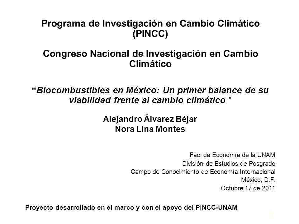 Programa de Investigación en Cambio Climático (PINCC)