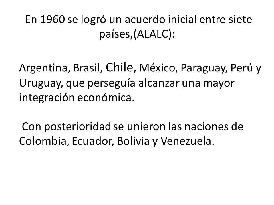 En 1960 se logró un acuerdo inicial entre siete países,(ALALC):