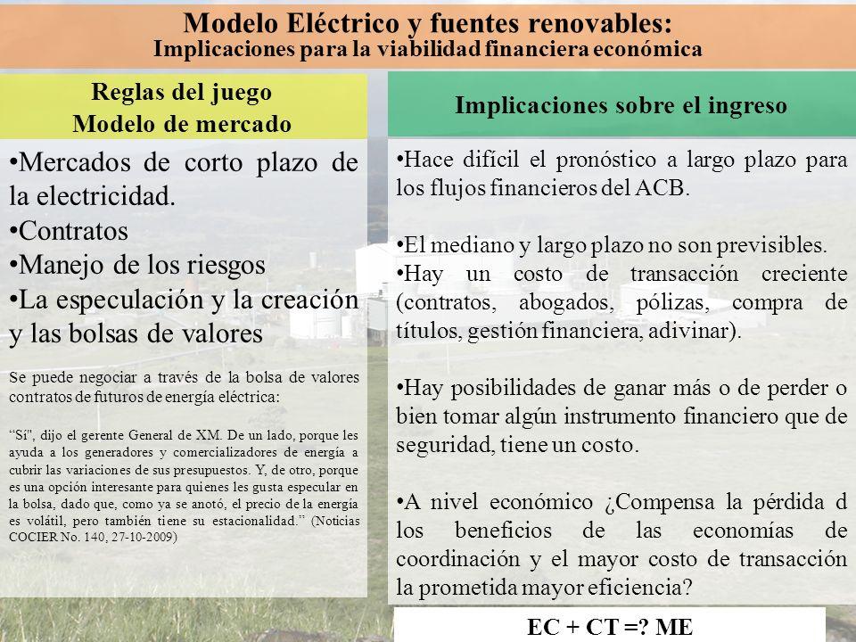 Modelo Eléctrico y fuentes renovables:
