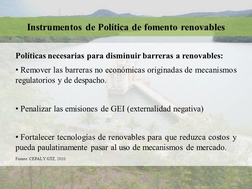 Instrumentos de Política de fomento renovables