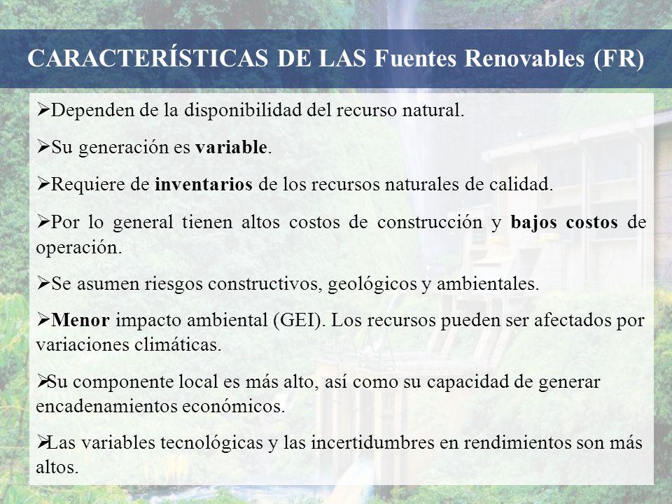 CARACTERÍSTICAS DE LAS Fuentes Renovables (FR)
