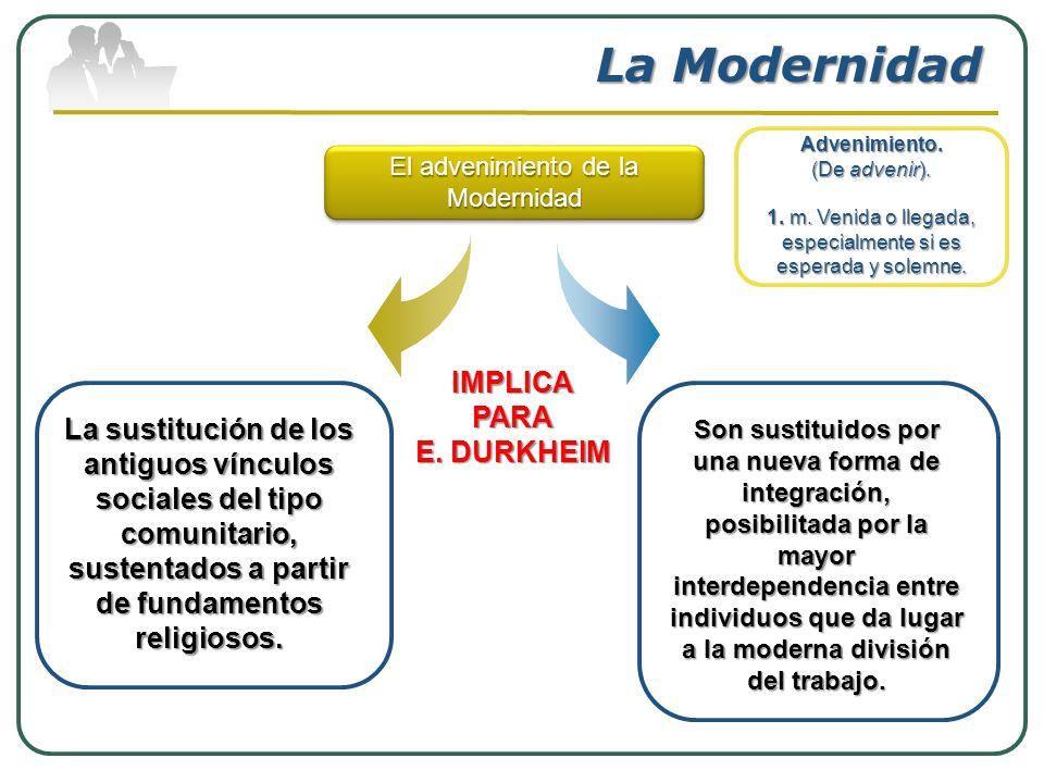 La Modernidad IMPLICA PARA E. DURKHEIM