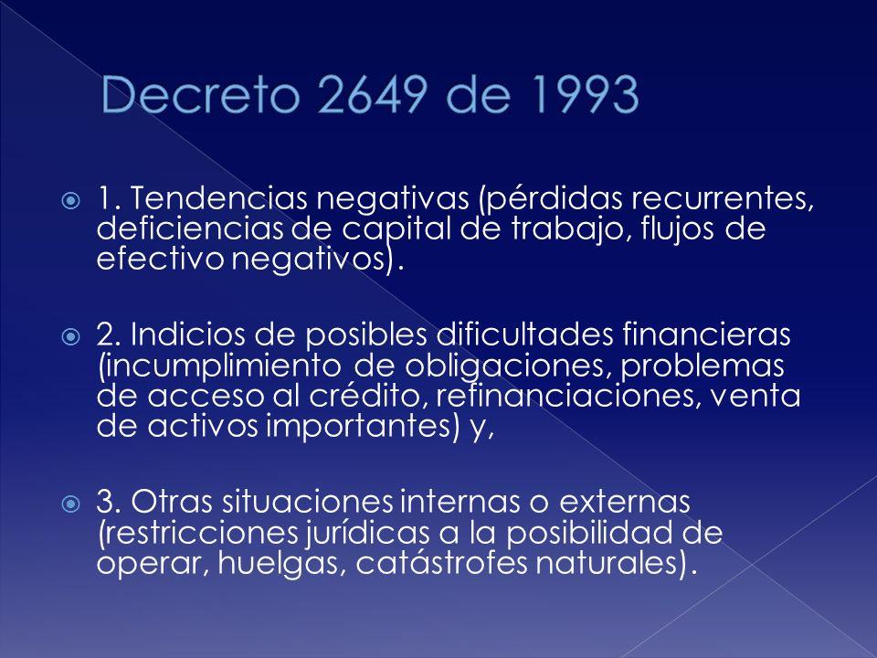 Decreto 2649 de 1993 1. Tendencias negativas (pérdidas recurrentes, deficiencias de capital de trabajo, flujos de efectivo negativos).