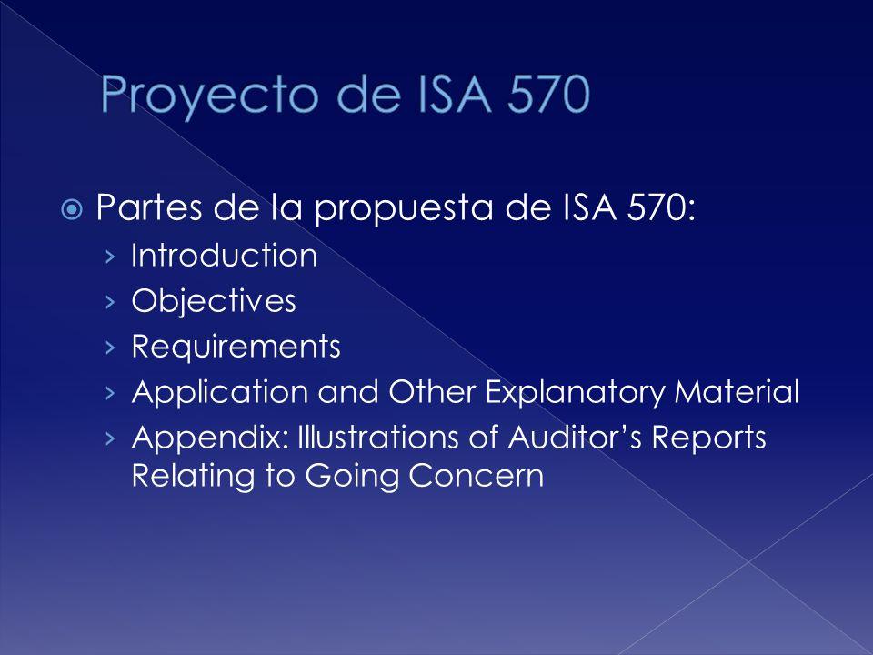 Proyecto de ISA 570 Partes de la propuesta de ISA 570: Introduction