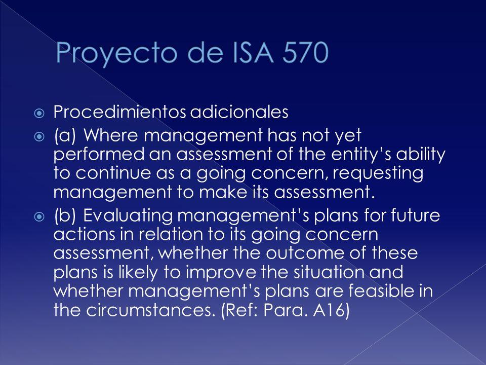 Proyecto de ISA 570 Procedimientos adicionales