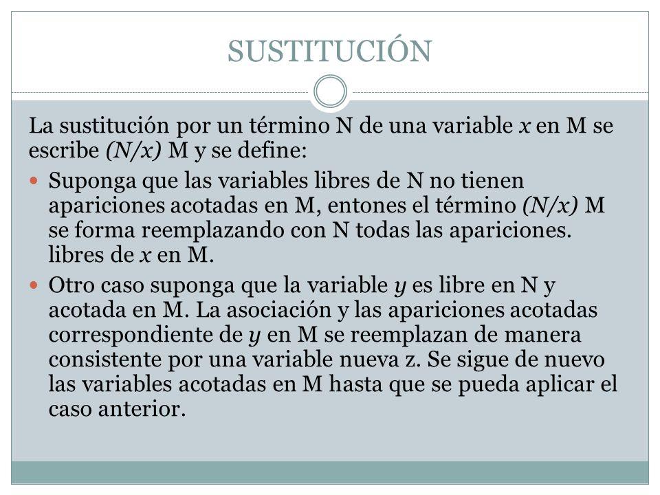 SUSTITUCIÓN La sustitución por un término N de una variable x en M se escribe (N/x) M y se define: