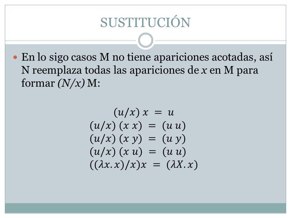 SUSTITUCIÓN En lo sigo casos M no tiene apariciones acotadas, así N reemplaza todas las apariciones de x en M para formar (N/x) M: