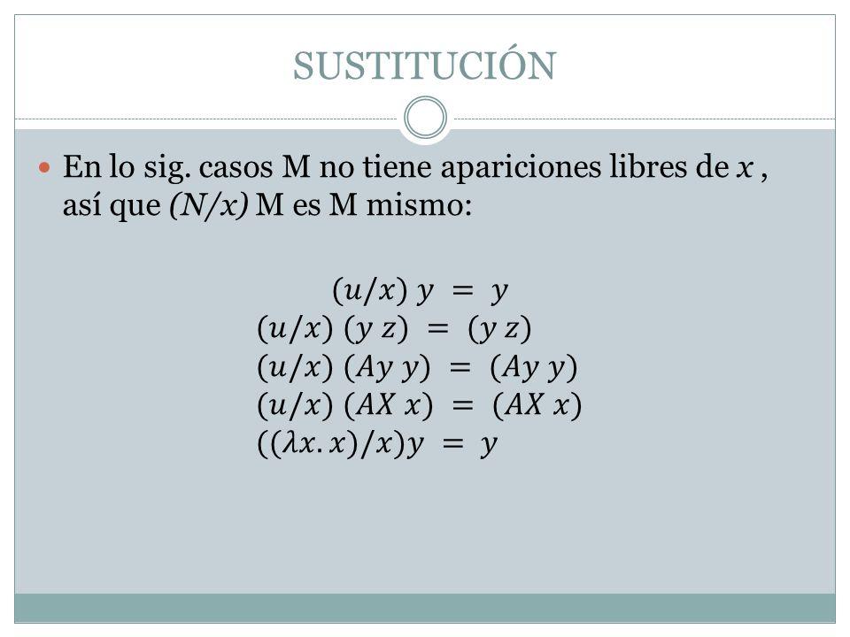SUSTITUCIÓN En lo sig. casos M no tiene apariciones libres de x , así que (N/x) M es M mismo: (𝑢/𝑥) 𝑦 = 𝑦.
