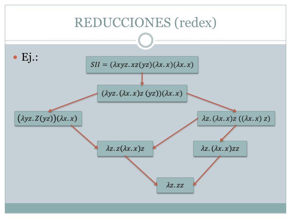 REDUCCIONES (redex) Ej.: 𝑆𝐼𝐼=(𝜆𝑥𝑦𝑧. 𝑥𝑧(𝑦𝑧)(𝜆𝑥. 𝑥)(𝜆𝑥. 𝑥)