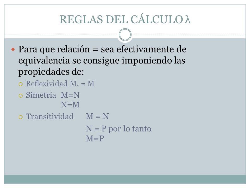 REGLAS DEL CÁLCULO λ Para que relación = sea efectivamente de equivalencia se consigue imponiendo las propiedades de: