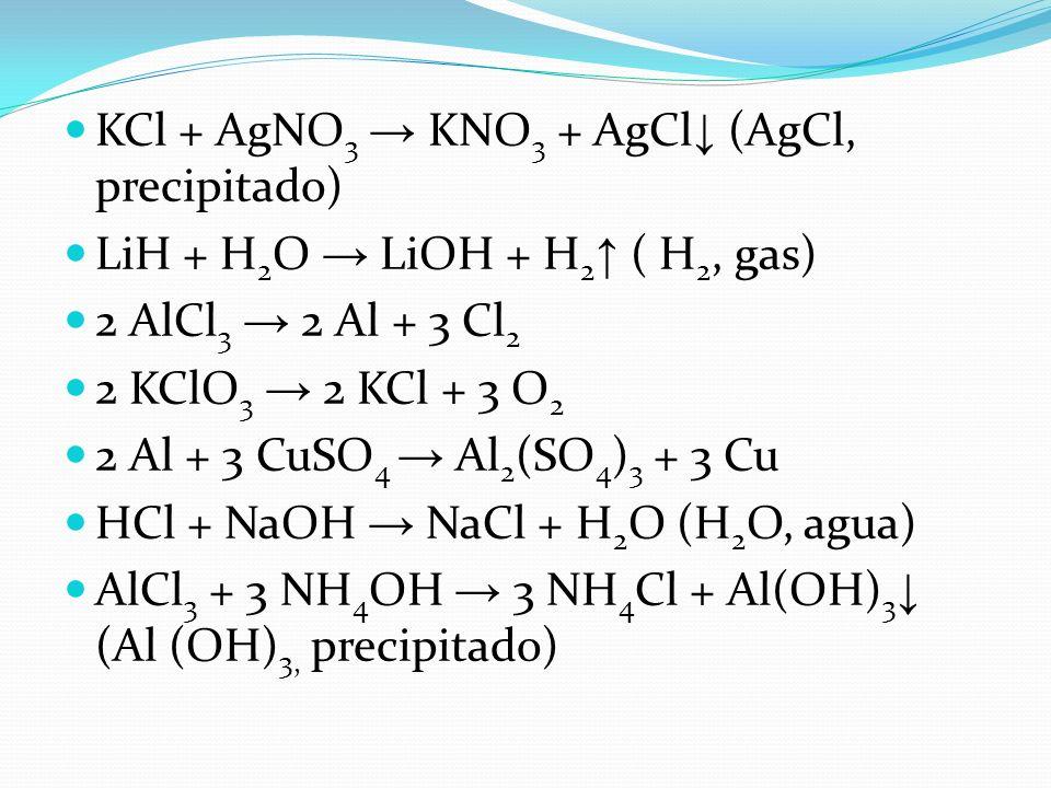 KCl + AgNO3 → KNO3 + AgCl↓ (AgCl, precipitado)