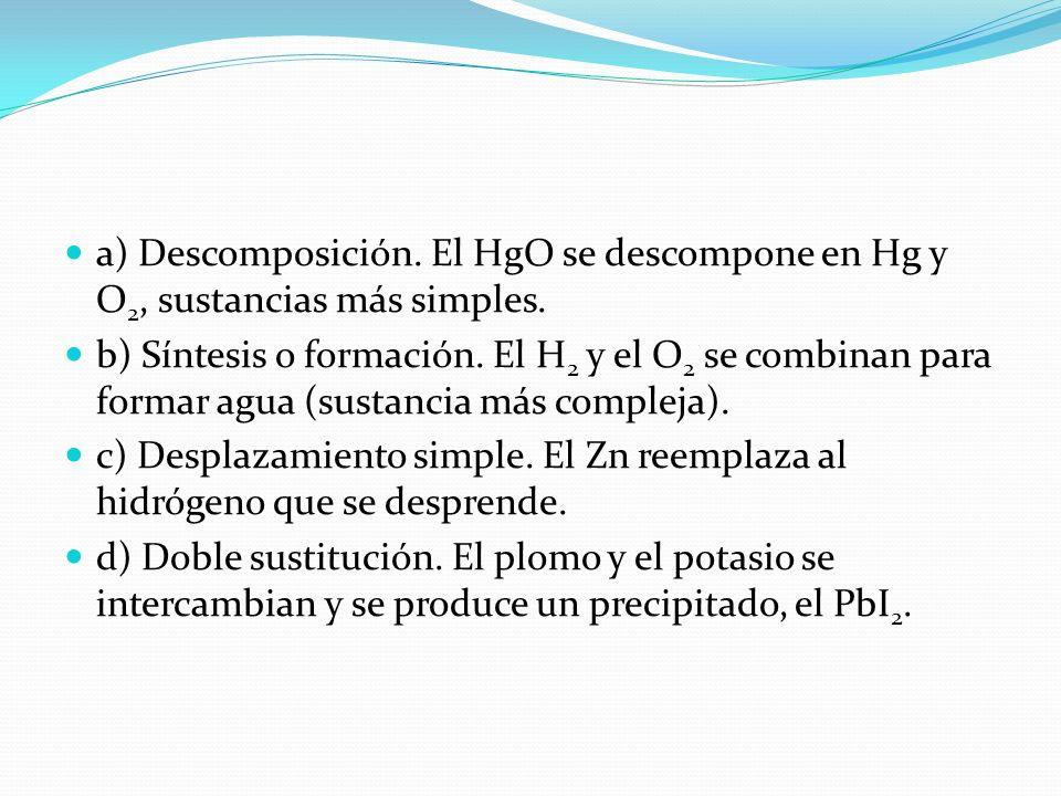 a) Descomposición. El HgO se descompone en Hg y O2, sustancias más simples.
