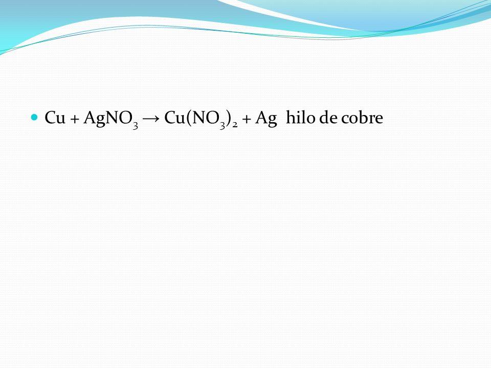 Cu + AgNO3 → Cu(NO3)2 + Ag hilo de cobre
