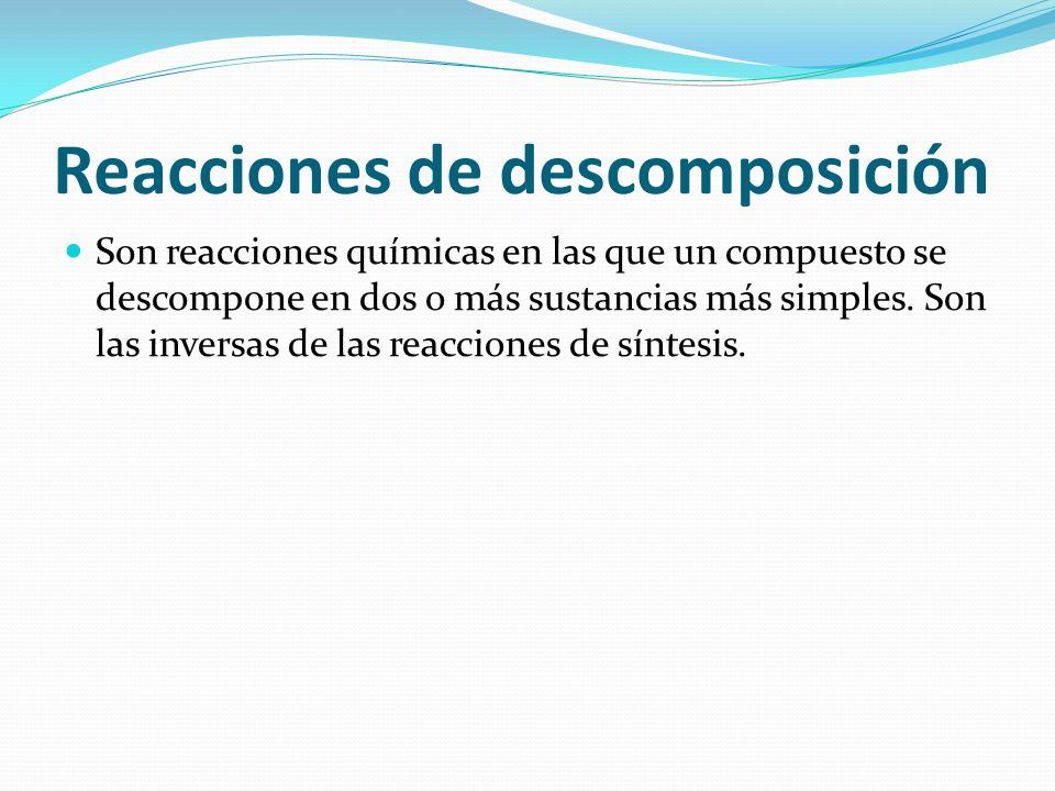 Reacciones de descomposición
