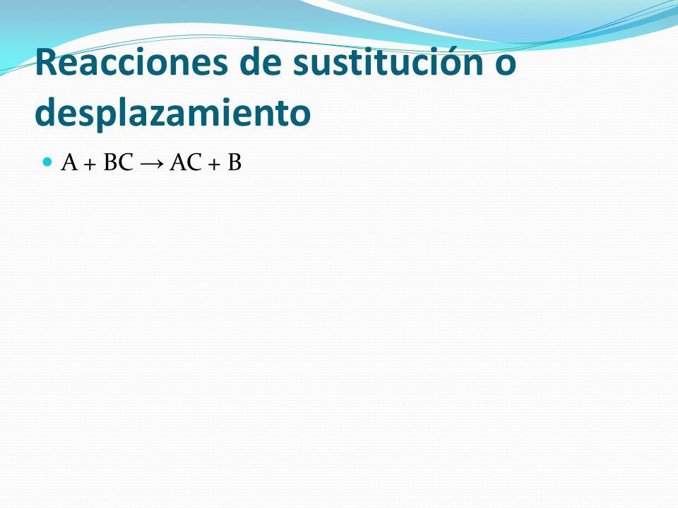 Reacciones de sustitución o desplazamiento