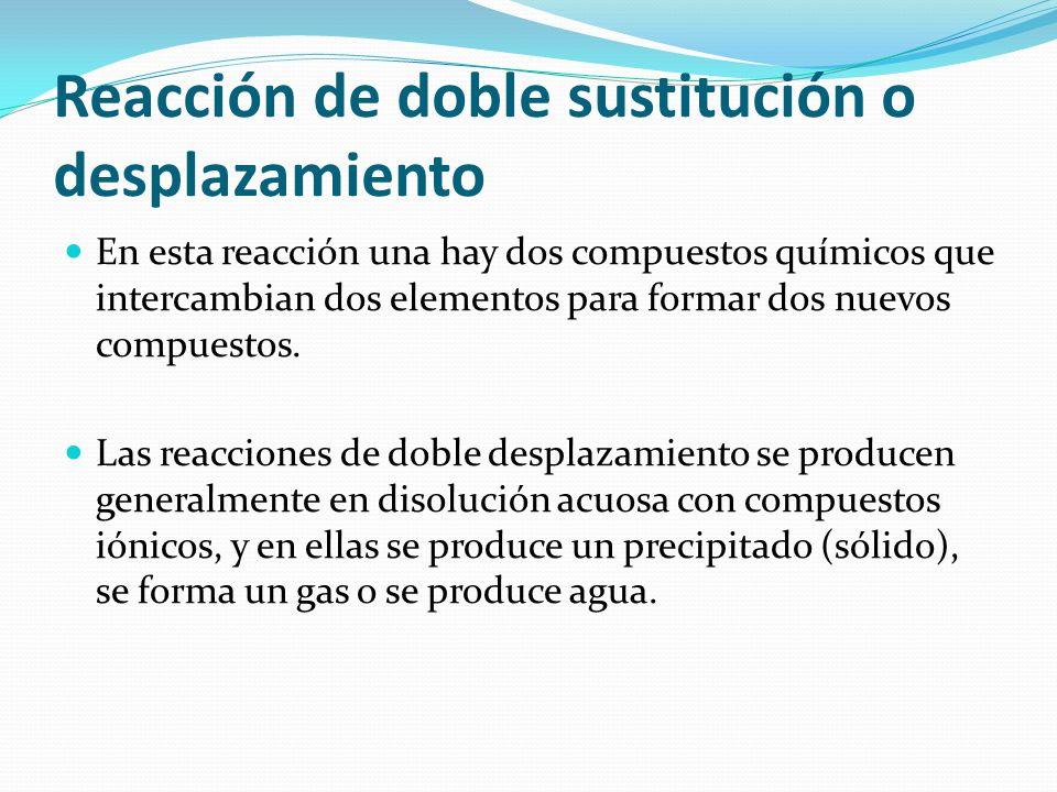 Reacción de doble sustitución o desplazamiento