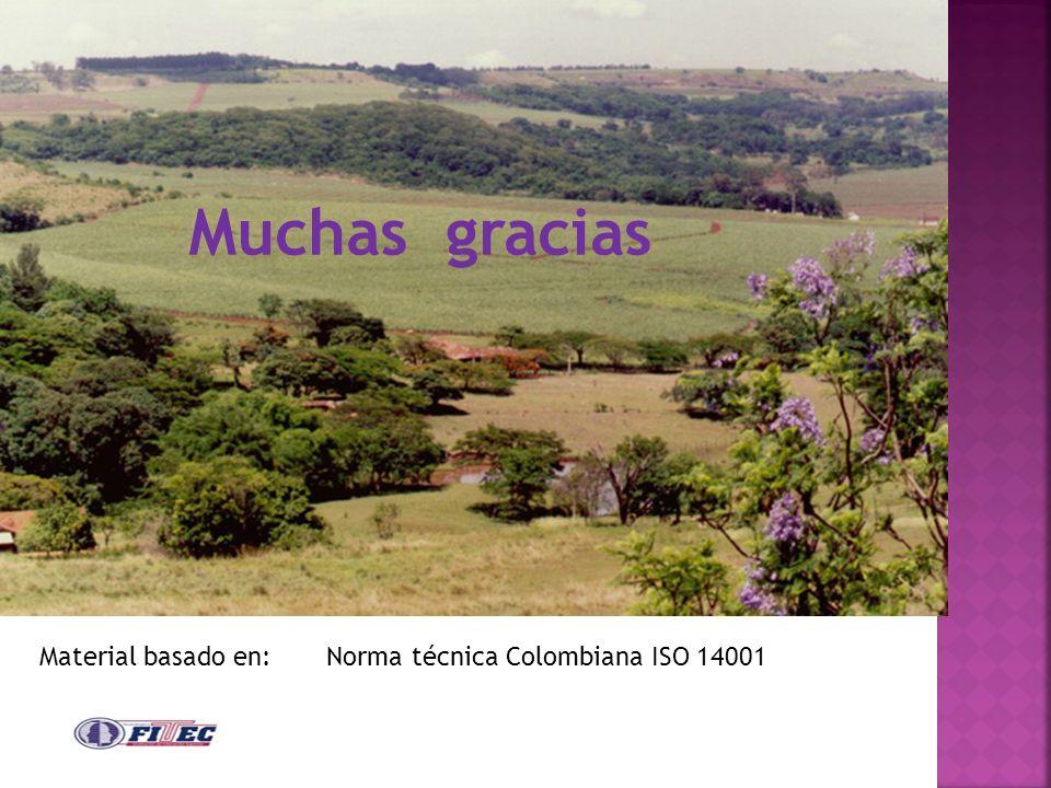 Muchas gracias Material basado en: Norma técnica Colombiana ISO 14001