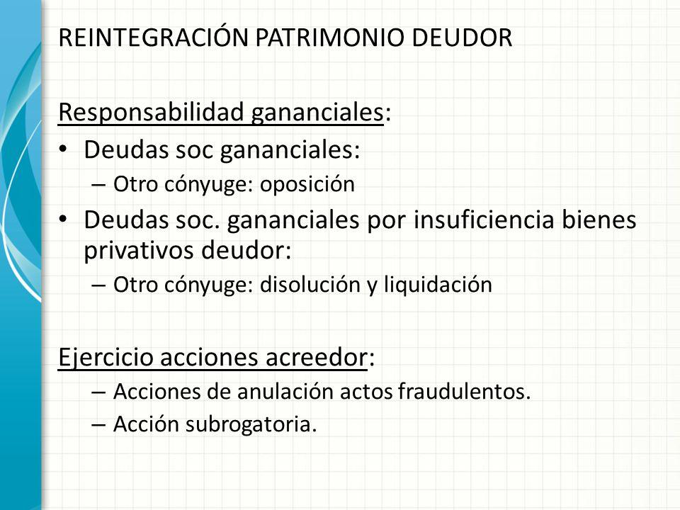 REINTEGRACIÓN PATRIMONIO DEUDOR Responsabilidad gananciales:
