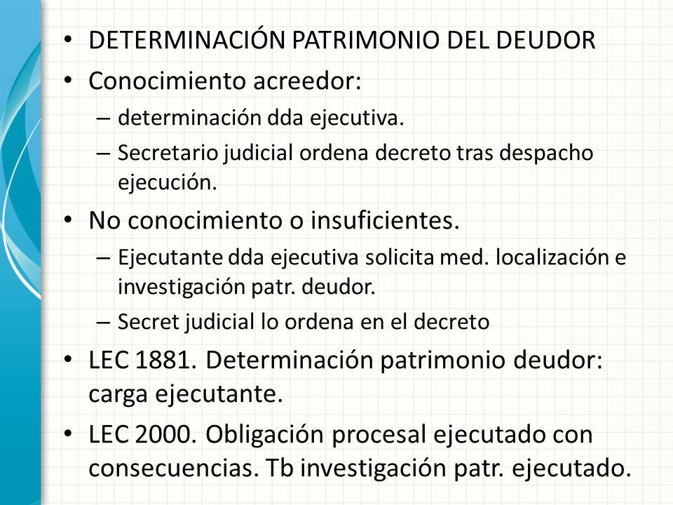 DETERMINACIÓN PATRIMONIO DEL DEUDOR Conocimiento acreedor: