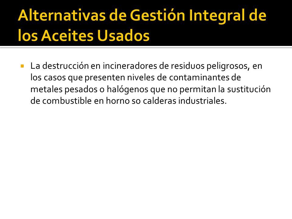 Alternativas de Gestión Integral de los Aceites Usados