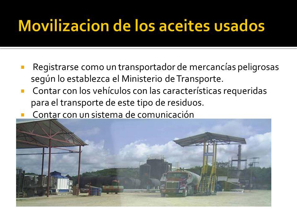 Movilizacion de los aceites usados