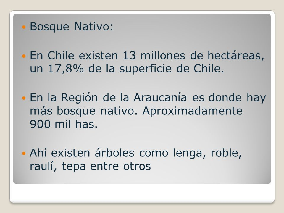 Bosque Nativo: En Chile existen 13 millones de hectáreas, un 17,8% de la superficie de Chile.