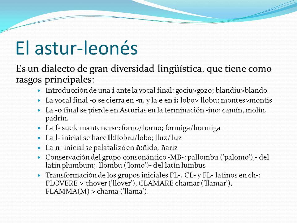 El astur-leonés Es un dialecto de gran diversidad lingüística, que tiene como rasgos principales:
