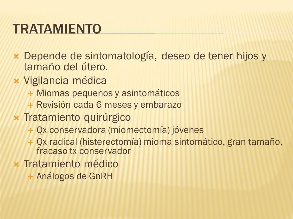 TRATAMIENTO Depende de sintomatología, deseo de tener hijos y tamaño del útero. Vigilancia médica.