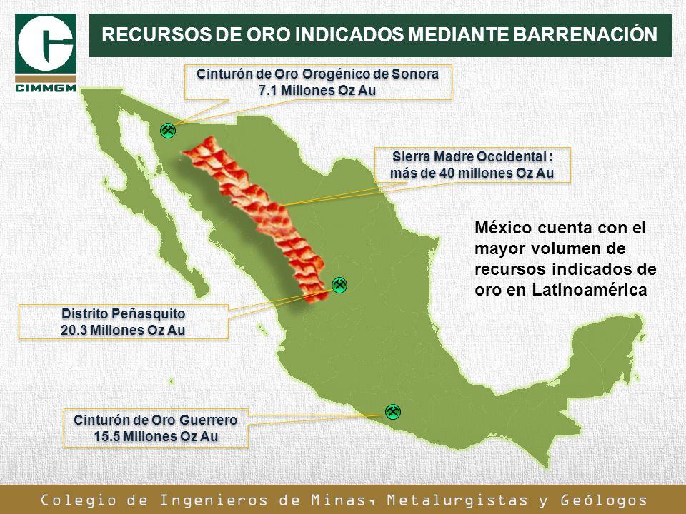 RECURSOS DE ORO INDICADOS MEDIANTE BARRENACIÓN