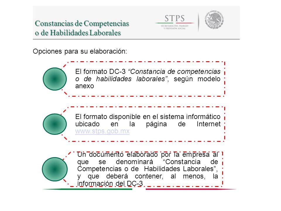 Constancias de Competencias o de Habilidades Laborales